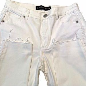 Express High rise white jean leggings 8 Short